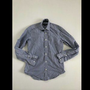 Zara Man Blue Long Sleeved Collared Striped Shirt